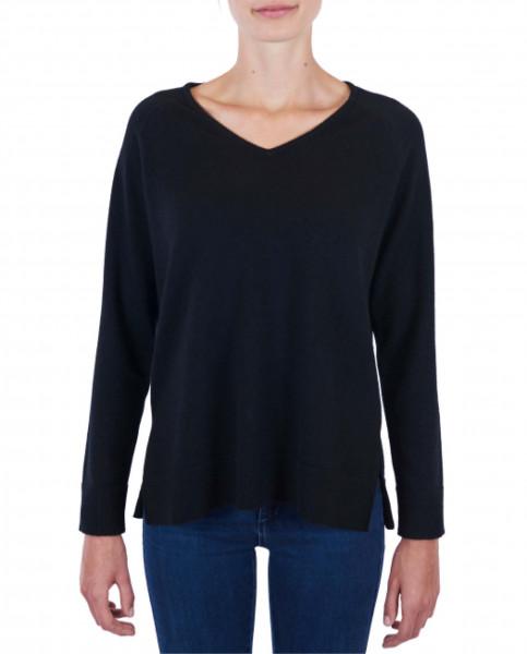 Damen Kaschmir V-Ausschnitt Pullover mit Seitenschlitzen schwarz frontfoto
