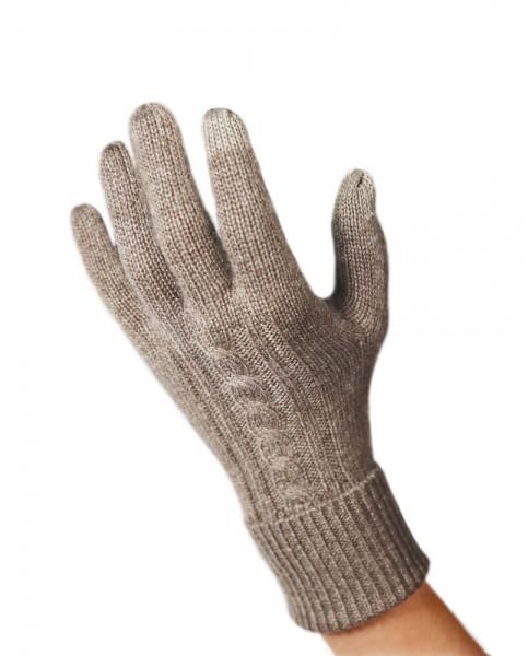 taupe kaschmir handschuhe mit zopfmuster