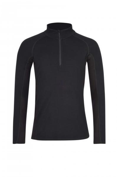 High Performance Kaschmir Sportwäsche Langarm-Shirt mit Stehkragen und Half-Zip schwarz frontbild