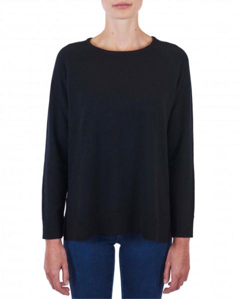 Damen Kaschmir Rundhals Pullover mit Seitenschlitzen schwarz frontfoto