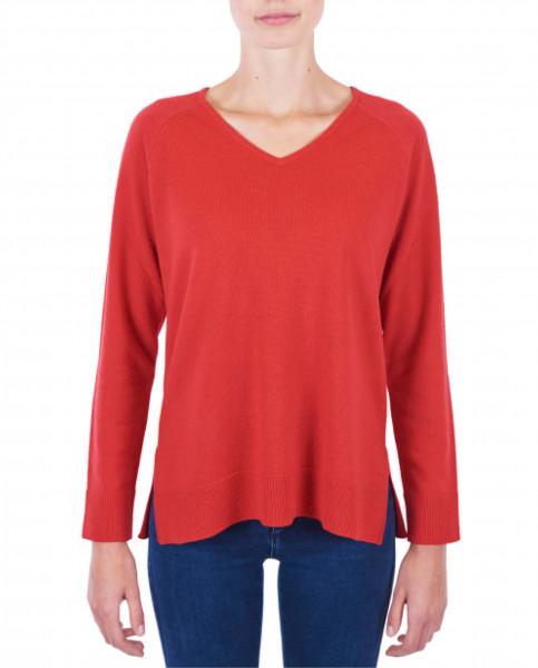 Damen Kaschmir V-Ausschnitt Pullover mit Seitenschlitzen rot frontfoto