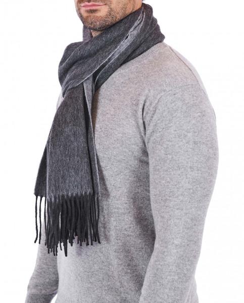 Kaschmir Schal double face schwarz und grau frontbild