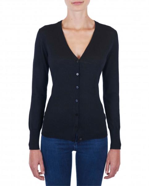 Damen Kaschmir Strickjacke Cardigan V-Ausschnitt Pullover schwarz (Frühling) frontbild
