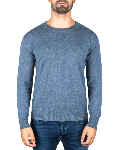 jeans blauer kaschmir rundhals herren pullover frontfoto