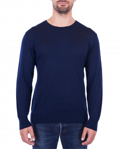 Herren Kaschmir Rundhals Pullover marine blau (Frühling) front