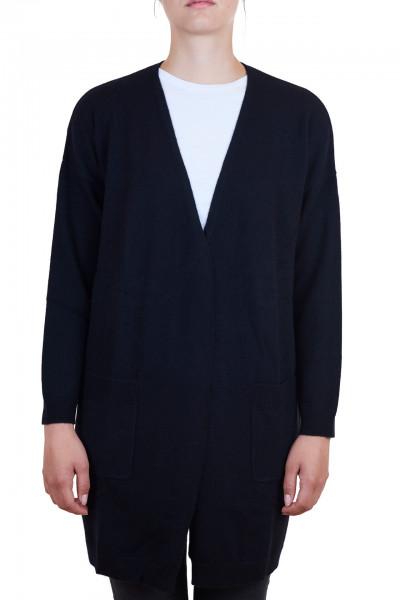 schwarzer kaschmir damen long cardigan frontfoto