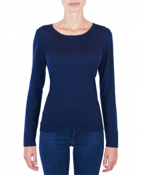 Damen Kaschmir Rundhals Pullover marine blau (Frühling) frontfoto