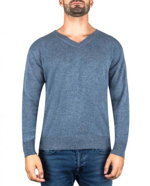 jeans blauer kaschmir v ausschnitt herren pullover frontfoto