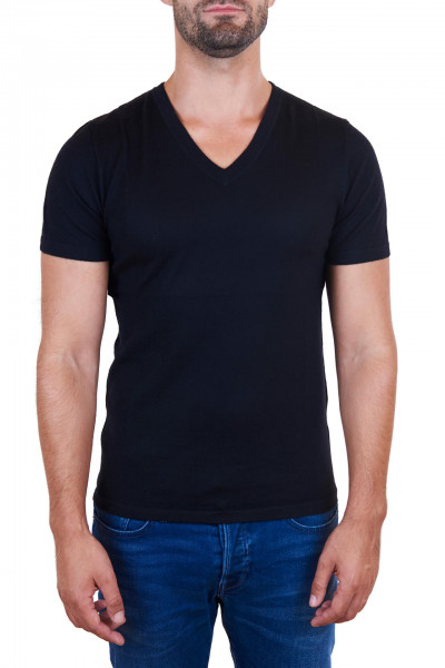 schwarzes kaschmir v ausschnitt herren t-shirt frontfoto