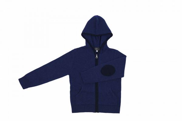 Kids Kaschmir Kapuzenpullover Hoodie indigo blau frontbild
