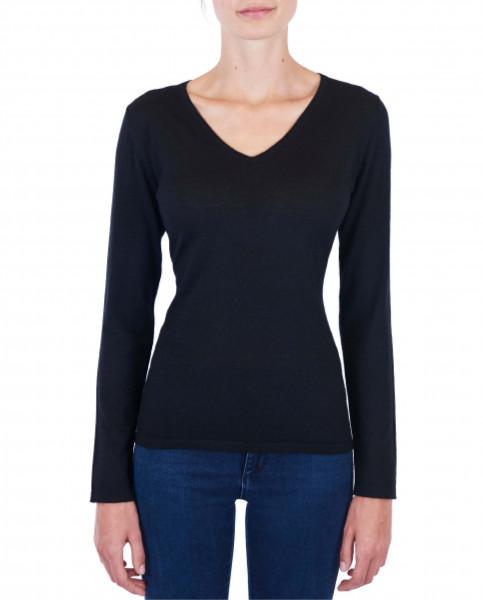 Damen Kaschmir V-Ausschnitt Pullover schwarz (Frühling) frontbild