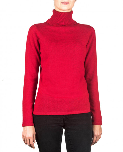 roter kaschmir rollkragen damen pullover frontfoto