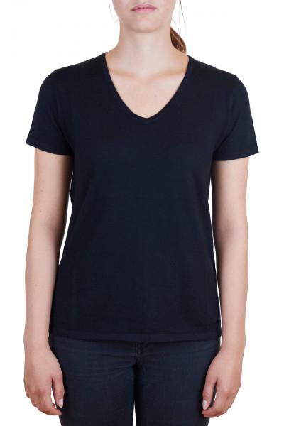 schwarzes damen kaschmir v ausschnitt t-shirt frontfoto