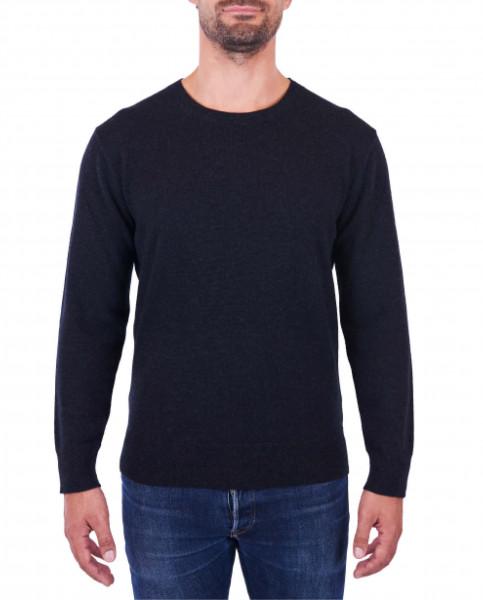 Herren Kaschmir Rundhals Pullover holzkohle frontbild