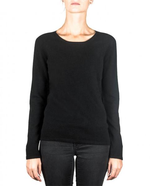 schwarzer kaschmir rundhals damen pullover frontfoto