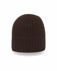dunkelbraune kaschmir rib mütze frontfoto