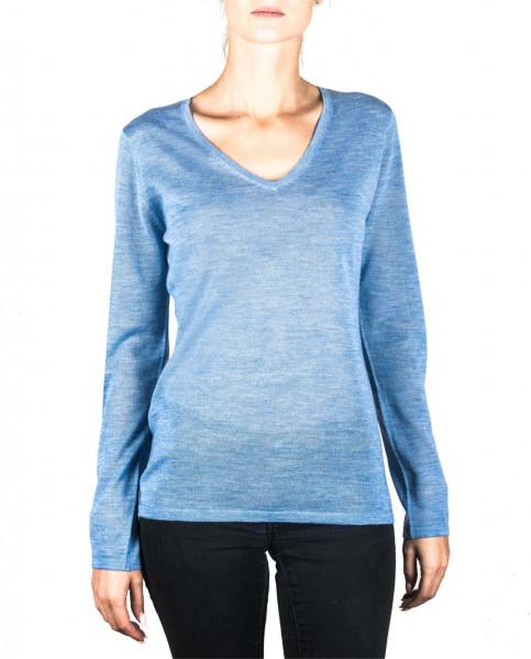 hellblauer kaschmir v ausschnitt damen pullover frontfoto