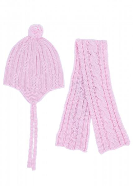 rosa baby kaschmir set mit mütze und schal