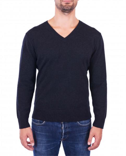 Herren Kaschmir V-Ausschnitt Pullover holzkohle frontbild