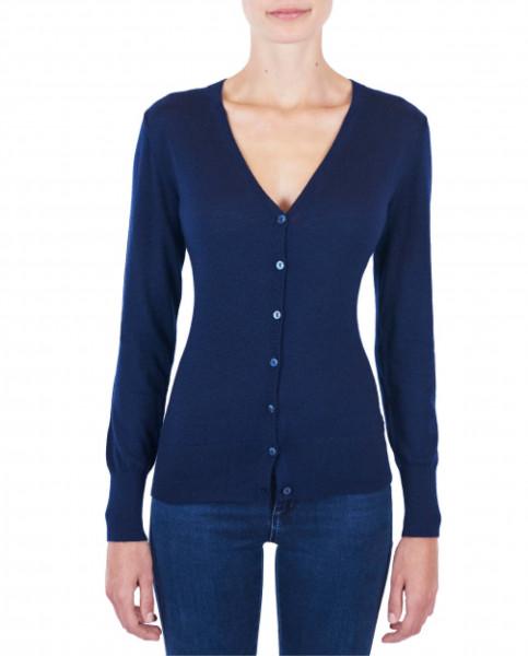 Damen Kaschmir Strickjacke Cardigan V-Ausschnitt Pullover marine blau (Frühling) frontbild