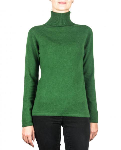 grüner kaschmir rollkragen damen pullover frontfoto