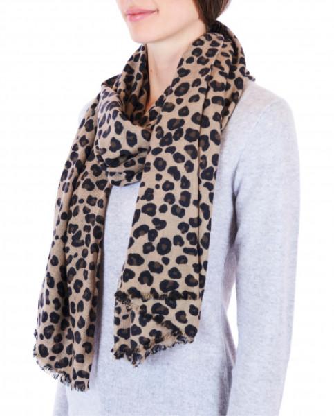 Kaschmir Schal leopard limited edition frontbild