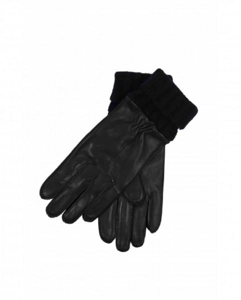 Lederhandschuhe mit Stulpen und Touchscreen tauglich schwarz frontbild